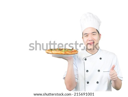 Asian chef preparing pizza very delicious  (clipping path)