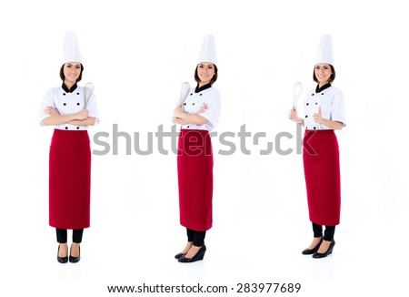 Asian chef, professional woman, compositing of three scenes, isolated on white background