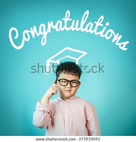 "Asian Child boy and blackboard with ""congratulation"" on background, School concept - stock photo"