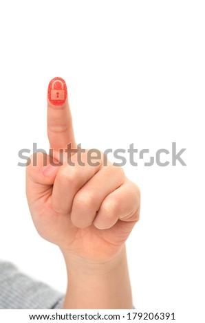 Asian child finger touching virtual screen leaving red fingerprint; locked concept - stock photo