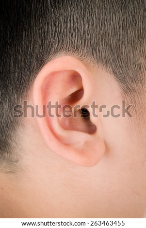 Asian child ,Human ear closeup