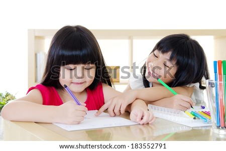 Asian Children Drawing - stock photo