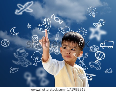 Asian children press the flying imagine symbol  - stock photo