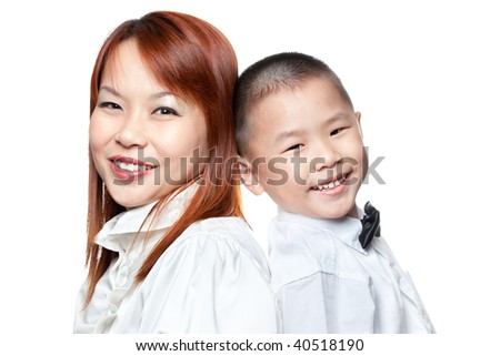 Asian Chinese boy and his mummy isolated on white
