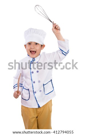 Asian Chinese Boy in White Chef Uniform Holding Baking Tools in isolated White Background - stock photo