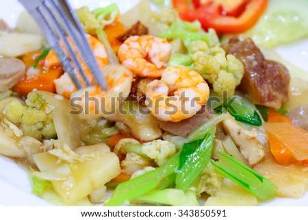 asian chinese food named capcay - stock photo