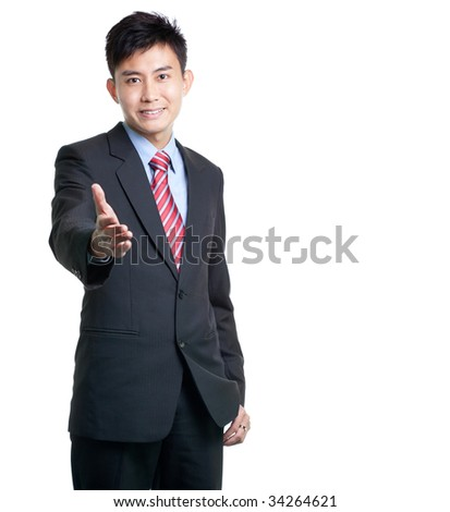 Asian Chinese/Japanese businessman strteches out his hand for a handshake, isolated on white with copyspace
