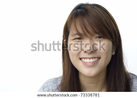 Asian chinese lady smiling with white background