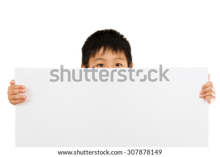 Asian Chinese Little Boy Holding blank white board - stock photo