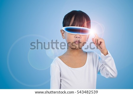 Asian Chinese little girl wearing futuristic eyeglassses and costumes act as cyborg in isolated background