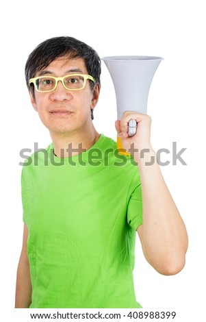 Asian Chinese Man Holding a Megaphone in isolated White Background - stock photo