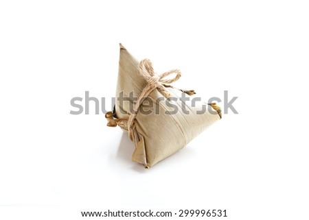 Asian Chinese Rice Dumpling, Zongzi, Isolated on White Background.