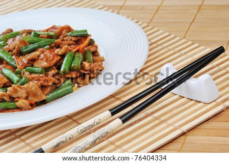 asian chopsticks isolated  on white close up - stock photo