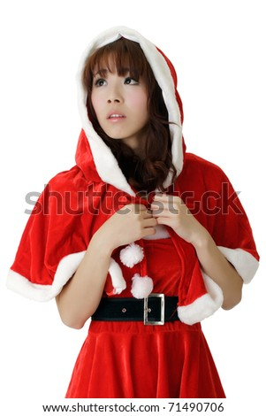 Asian Christmas girl, closeup portrait with sadness expression on face over white background. - stock photo