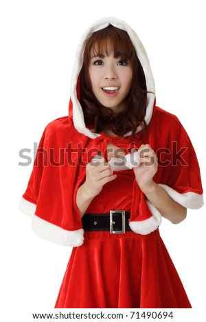 Asian Christmas girl with happy smile expression against white. - stock photo