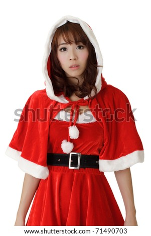 Asian Christmas girl with worried expression on face against white. - stock photo