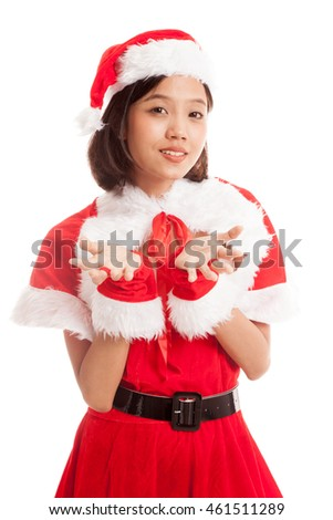 Asian Christmas Santa Claus girl  isolated on white background .