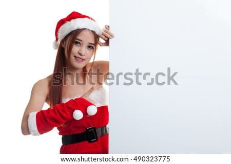 Asian Christmas Santa Claus girl thumbs up with blank sign  isolated on white background.