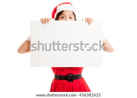 Asian Christmas Santa Claus girl with blank sign  isolated on white background