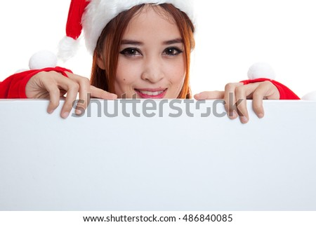 Asian Christmas Santa Claus girl with blank sign  isolated on white background.