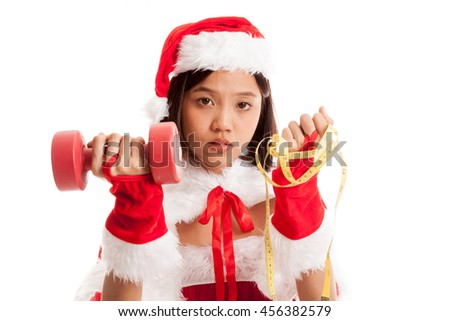 Asian Christmas Santa Claus girl with  measuring tape and dumbbell  isolated on white background