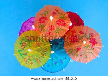 Asian cocktail umbrellas #2 - stock photo