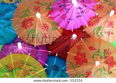 Asian cocktail umbrellas #3 - stock photo