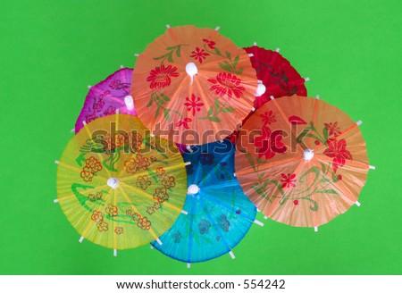 Asian cocktail umbrellas - stock photo