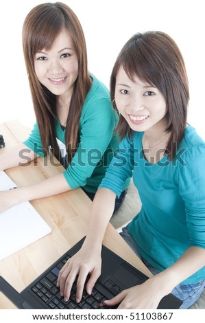asian college girls having a meeting - stock photo