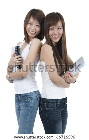 asian college girls with isolated white background - stock photo