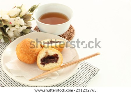 Asian confectionery, azuki red bean paste donut ball - stock photo