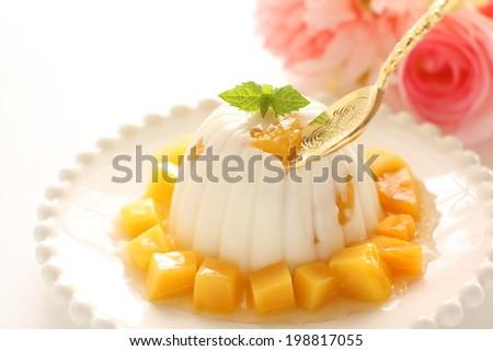 Asian confectionery, mango and almond tofu - stock photo