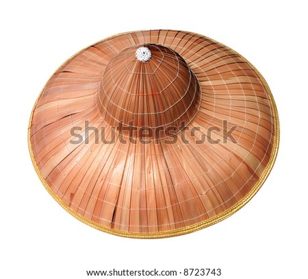 Asian conical hat made of bamboo leaves - Isolated. - stock photo