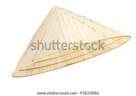 Asian conical hat on the white background