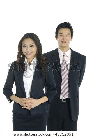 Asian couple of young businessman isolated