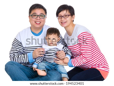 Asian couple with baby son - stock photo