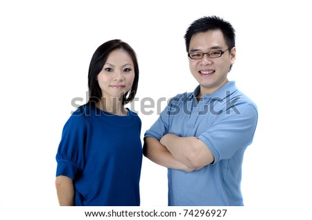 asian couple with isolated white backgrouind - stock photo