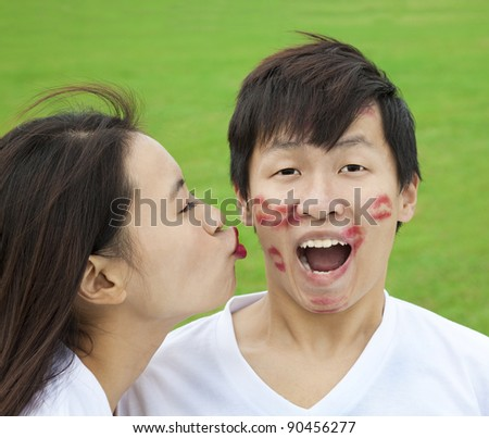 asian couple with kissing - stock photo