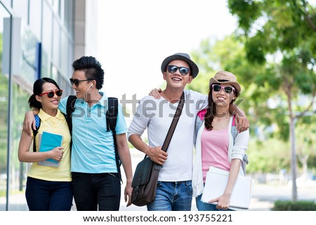 Asian couples walking together - stock photo