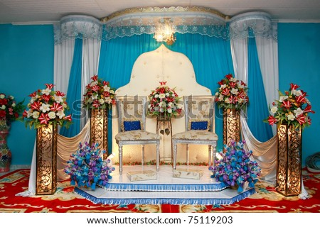 asian culture blue wedding stage