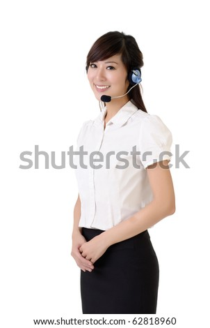 Asian customer service portrait with smiling expression against white background. - stock photo