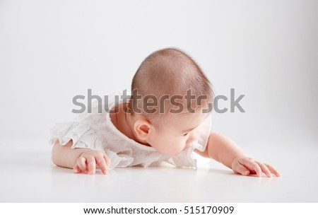 Asian cute baby photography in the studio
