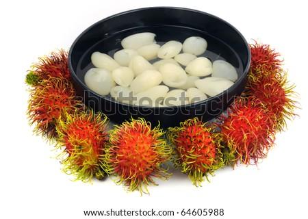 Asian dessert rambutan in syrup - stock photo