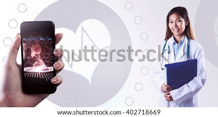 Asian doctor holding blue binder against medical interface in red and black - stock photo