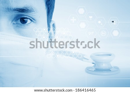 Asian Doctor In Virtual Reality  - stock photo