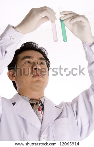 Asian doctor with test tube in white background.