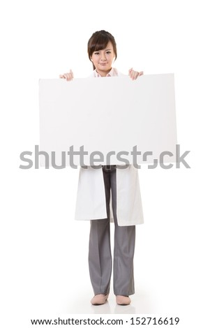 Asian doctor woman holding blank board, full length portrait isolated on white background. - stock photo