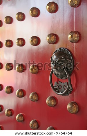 Asian door guardian found in china town - stock photo