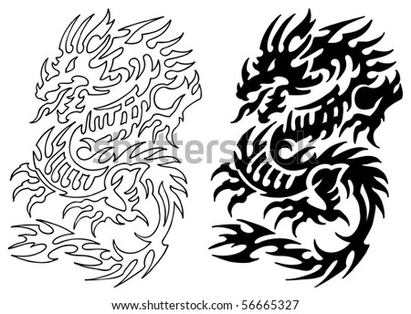 Asian Dragon Tattoo with stencil - stock photo