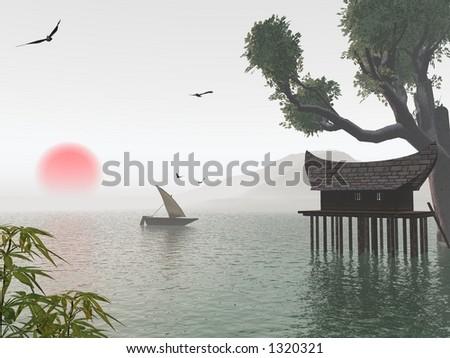 asian dreamy lagoon - stock photo